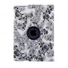 Rose Pattern Protective PU Leather Case Cover w/ Stand for IPAD AIR - White + Black