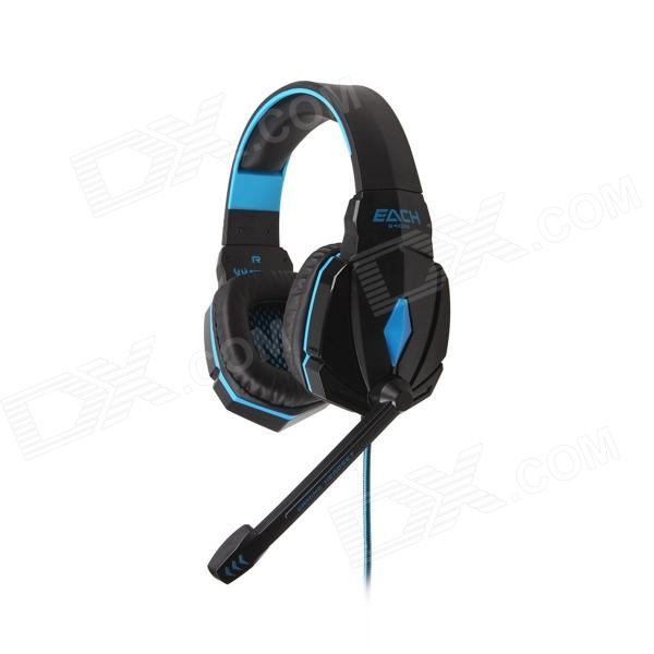 Each G4000 Stereo Pro Gaming Headband Headphone w/ Microphone / Remote / USB / 3.5mm - Blue + Black g1100 3 5mm pro gaming headset headphone for ps4 laptop crack pattern led led blue black red white