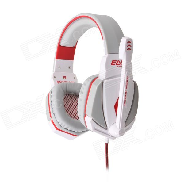 Each G4000 Stereo Pro Gaming Headband Headphone w/ Microphone / Remote / USB / 3.5mm - White + Black g1100 3 5mm pro gaming headset headphone for ps4 laptop crack pattern led led blue black red white