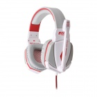 Each G4000 Stereo Pro Gaming Headband Headphone w/ Microphone / Remote / USB / 3.5mm - White + Black