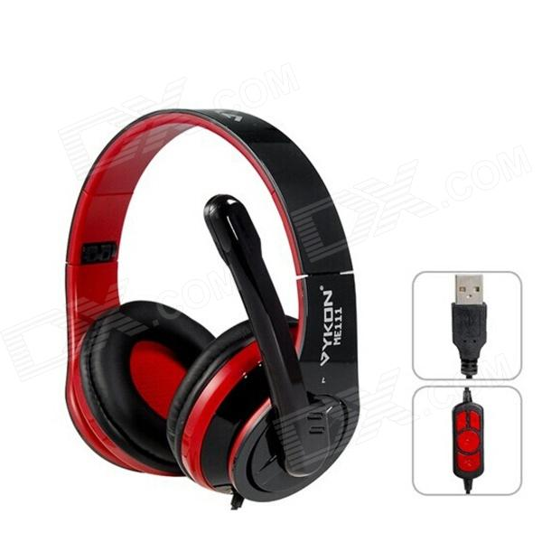 ME111 USB Wired On-Ear Headphones w/ Microphone - Black + Red (1.8cm-Cable)