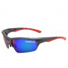 OUMILY Outdoor Cycling UV400 Protection Resin Lens Polarized Sunglasses Goggles - Blue + Black