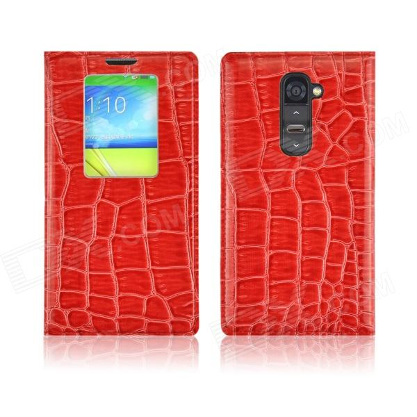 Angibabe Crocodile Pattern Flip Open PU Leather Case w/ View Window for LG G2 - Red angibabe crocodile pu ultrathin view window smart leather case for lg g3 brown