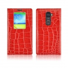 Angibabe Crocodile Pattern Flip Open PU Leather Case w/ View Window for LG G2 - Red