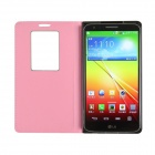 Angibabe Crocodile Pattern Flip Open PU Leather Case w/ View Window for LG G2 - Pink