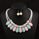 SAPREAL JT1001C1 Fashion Women's Emerald Green + Pink Colored Necklace Earrings Set