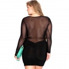 Fashion Sexy Mesh Round Neck Long Sleeved Slim Dress - Black (XXL)