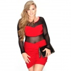 Fashion Sexy Mesh Round Neck Long Sleeved Slim Dress - Black + Red (XXL)