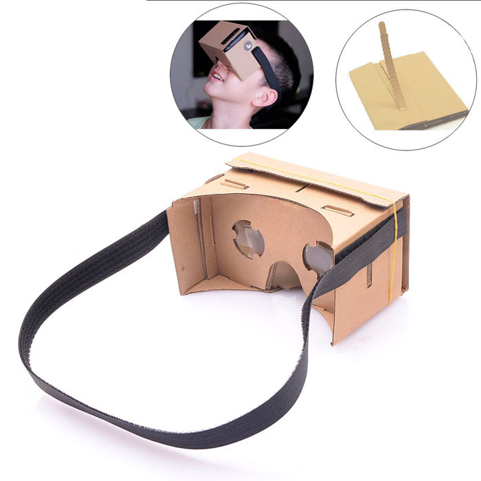 DIY Cardboard Virtual Reality 3D Glasses w/ NFC - Brown