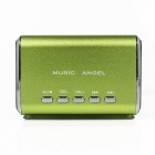 MD-05 Mini USB Rechargeable Aluminum Alloy MP3 Player Speaker w/ TF Slot / LED Light - Green