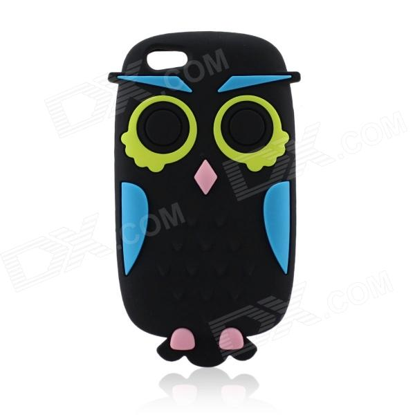 Cute Owl Cartoon Style Protective Silicone Back Case for IPHONE 5S - Black + Blue cute marshmallow style silicone back case for iphone 5 5s light blue deep blue