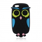 Cute Owl Cartoon Style Protective Silicone Back Case for IPHONE 5S - Black + Blue