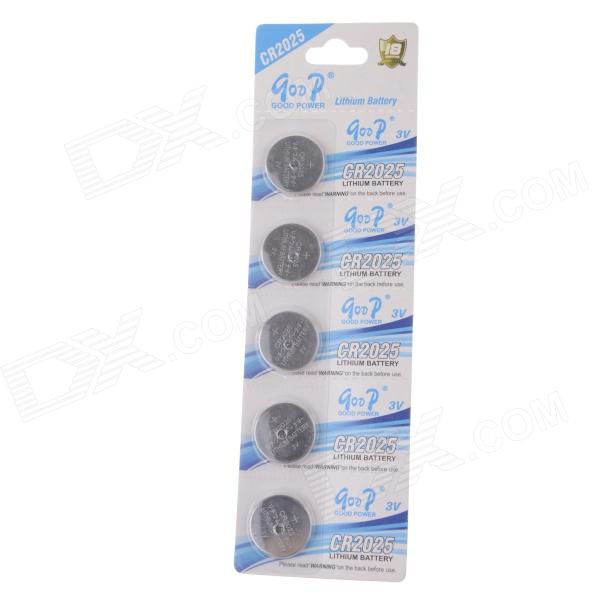 GOOP CR2025 3V Lithium Button Cell Batteries (5 PCS) goop cr2450 3v lithium cell button batteries 5 x 10pcs