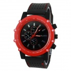 Men's Football Series Sports Silicone Band Analog Quartz Wrist Watch - Red + Black (1 x 377)