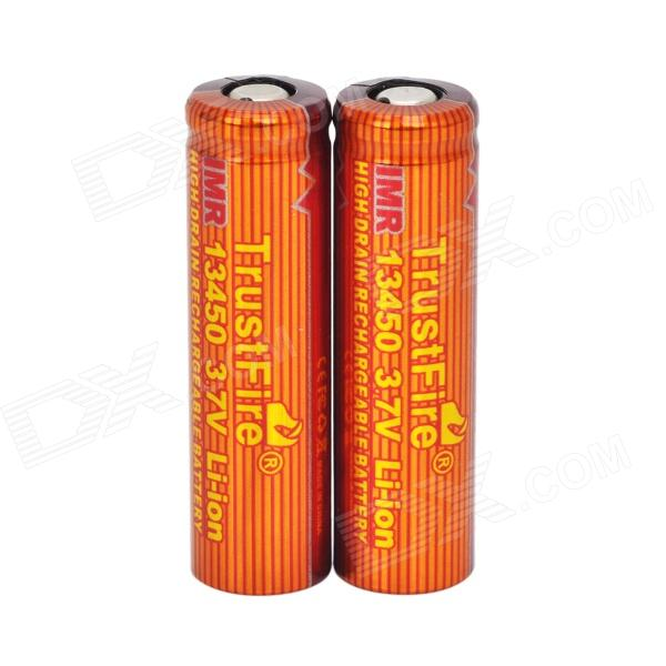 TrustFire High-rate Discharge 3.7V 550mAh 5C Lithium-ion 13450 Batteries - Red + Orange(2 PCS) goop cr2025 3v lithium cell button batteries 5 x 10 pcs