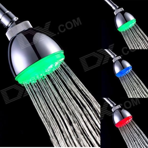YDL-8008-A4 Bell Shaped 15-LED RGB Wall Mount Chrome-plated ABS Shower Head - Silver