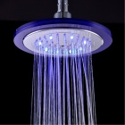 "YDL-8030-C4 8"" Temperature Control 8-LED RGB Round Bathroom Shower Head - Silver + Transparent Blue"