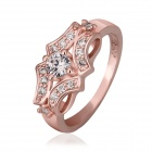 Women`s Fashion Luxury Transparent Zircon Stone Inlaid Ring - Rose Golden (US Size 7)