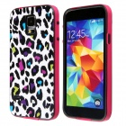 Fashion Leopard Print Pattern Plastic Back Case for Samsung Galaxy S5 / I9600 - Red + Multi-Colored