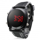 Unisex Red LED Digital Round Dial Black Silicone Band Wrist Watch (1 x 377)