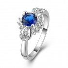 Fashion Women's Silver Plated + Rhinestone Ring - Silver + Deep Blue