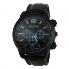 Men's Sport Style Large Dial Rubber Band Quartz Analog Wrist Watch - Black + Deep Blue
