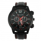 Men's Sport Style Large Dial Rubber Band Quartz Analog Wrist Watch - Black + Red