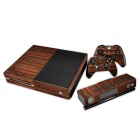 Wood Grain Patterned Protective Sticker Set for Xbox One Console + Controller - Brown