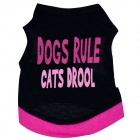 "M-0068 ""Dogs Rule Cats Drool"" Lettering Cotton Vest for Pet Cat / Dog - Black (Size S)"