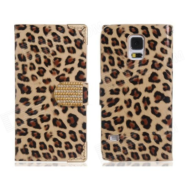 Leopard Print Virar Case Open PU couro w / stand para Samsung Galaxy S5 - Khaki + Brown + Multi-Color