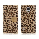Leopard Print Flip Open PU Leather Case w/ Stand for Samsung Galaxy S5 - Khaki + Brown + Multi-Color