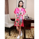 MARULONG S0015 Women's Comfy Short Sleeve Imitation Silk Nightdress Sleep Gown - Deep Pink