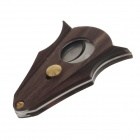 Portable Stainless Steel + Wood Cigar Cutter Knife - Brown + Silver