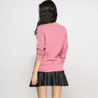 Catwalk88 High Quality Women's Long Sleeved Cotton Pullover Knitted Shirt - Pink (L)