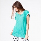 Catwalk88 European Style Women's Summer Short-sleeved Long Casual Round Neck T-shirt - Green (L)