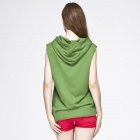 Catwalk88 Summer Women's Printed Pattern Sleeveless Casual Hoodies with Hat - Green (Size L)