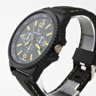 V6 Fashionable Men's Rubber Band Analog Quartz Sport Watch - Black + Yellow (1 x 377)