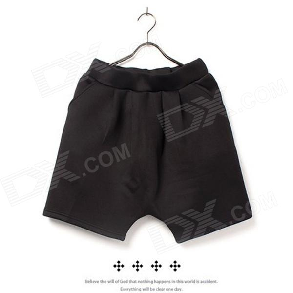 KM-50 Fashionable Casual Cotton Shorts for Men - Black (Size L)