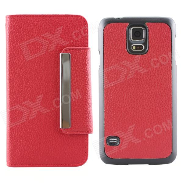 Luxury PU Leather Flip-Open Case w/ Card Slots for Samsung Galaxy S5 i9600 - Red metal ring holder combo phone bag luxury shockproof case for samsung galaxy note 8