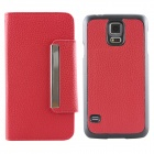 Luxury PU Leather Flip-Open Case w/ Card Slots for Samsung Galaxy S5 i9600 - Red