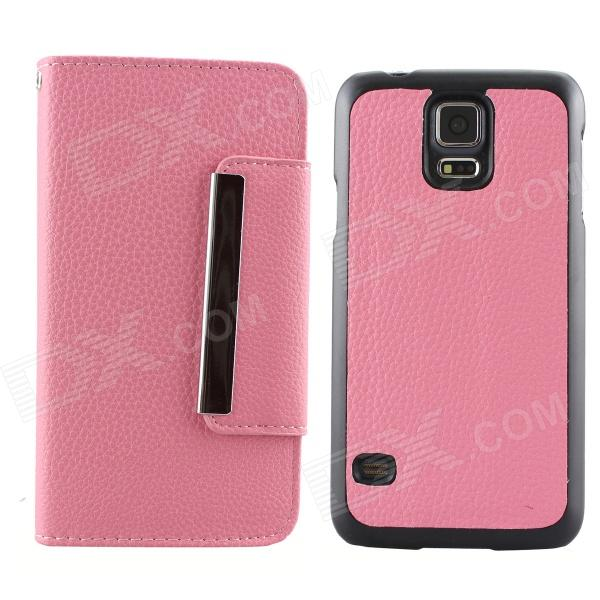 Luxury PU Leather Flip-Open Case w/ Card Slots for Samsung Galaxy S5 i9600 - Pink metal ring holder combo phone bag luxury shockproof case for samsung galaxy note 8