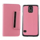 Luxury PU Leather Flip-Open Case w/ Card Slots for Samsung Galaxy S5 i9600 - Pink