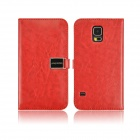 Angibabe PU Leather Case with Card Slots for Samsung Galaxy S5 - Red