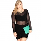 Fashion Sexy Mesh Round Neck Long Sleeved Slim Dress - Black (XL)