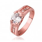 Elegant Women's Rhinestone Inlaid Ring - Rose Gold (U.S Size 8)