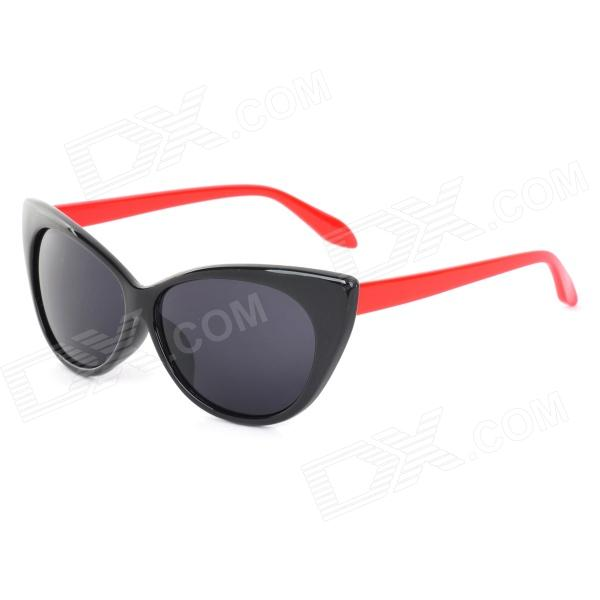 CARSHIRO Stylish Retro Style UV400 Sunglasses - Black + Red carshiro 77267 fashion retro style uv400 protection grey resin lens sunglasses white purple