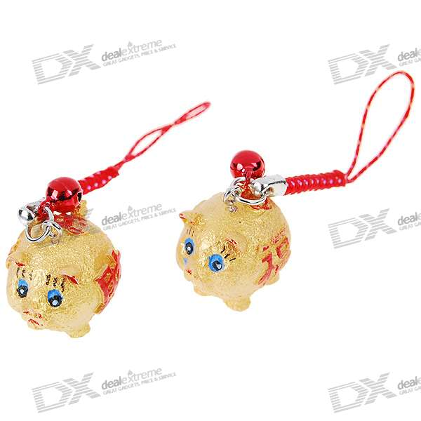 Charming Piggy Kirksite Couple's Cell Phone Straps (Pair)