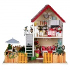 DIY Creative Cute Wooden 2-Floor House Model Toy - White + Red + Multi-Color