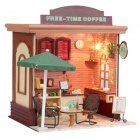 DIY Creative Cute Wooden Coffee House Model Toy - Deep Grey + Green + Multi-Color