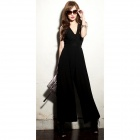 Stylish V-Neck High Waist Bell-bottomed Polyester Jumpsuit - Black